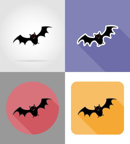Ikonen-Vektorillustration der Halloween-Fledermaus flache vektor
