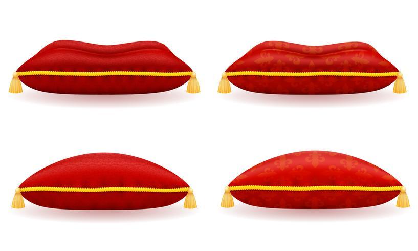 röd sammet och satin kudde vektor illustration