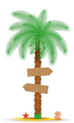 palmträd med en tecken vektor illustration