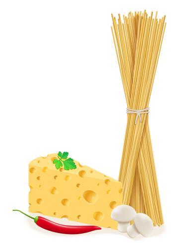 Pasta mit Gemüse-Vektor-Illustration vektor