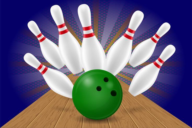 Bowlingkugel- und Stiftvektorillustration vektor