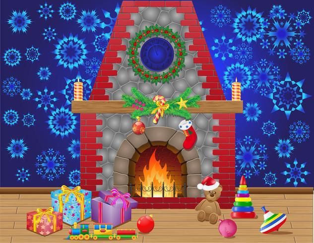 öppen spis rum med julklappar och dekorationer vektor
