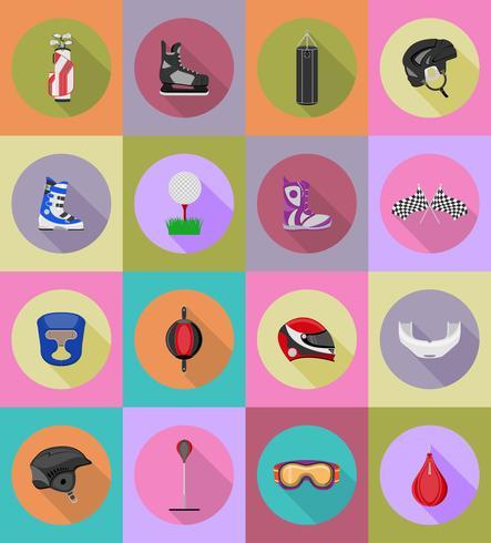 sport spelutrustning platt ikoner vektor illustration