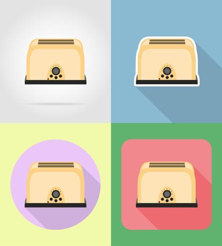 brödrost hushållsapparater för kök platt ikoner vektor illustration