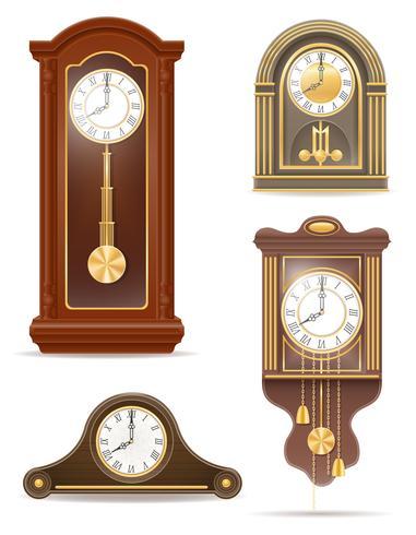 Ikonen-Vektorillustration der Uhr alte Retro- gesetzte vektor