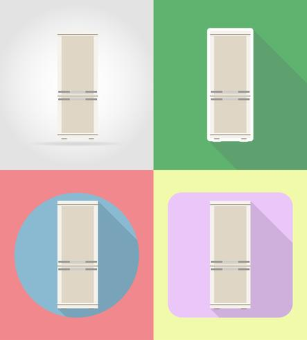 kylskåp hushållsapparater för kök platt ikoner vektor illustration