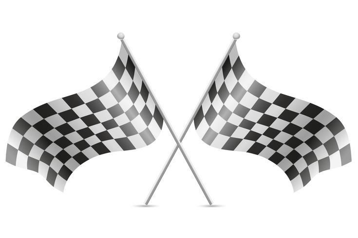 karierte Flaggen für Autorennenvektorillustration vektor