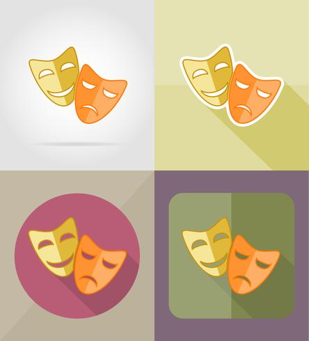 Ikonen-Vektorillustration der Theatermasken flache vektor