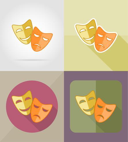 teater masker platt ikoner vektor illustration