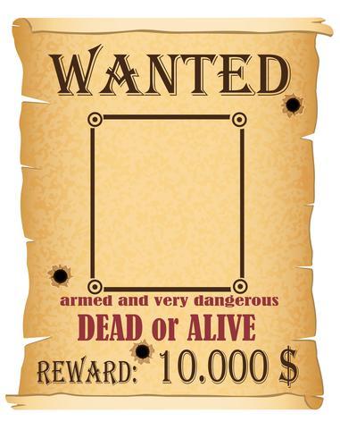 meddelande önskad kriminell affisch vektor illustration