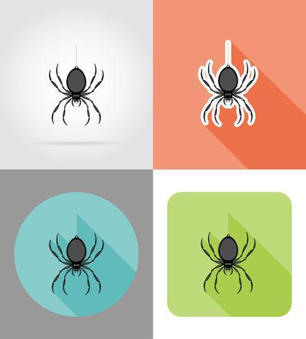 spindel platt ikoner vektor illustration