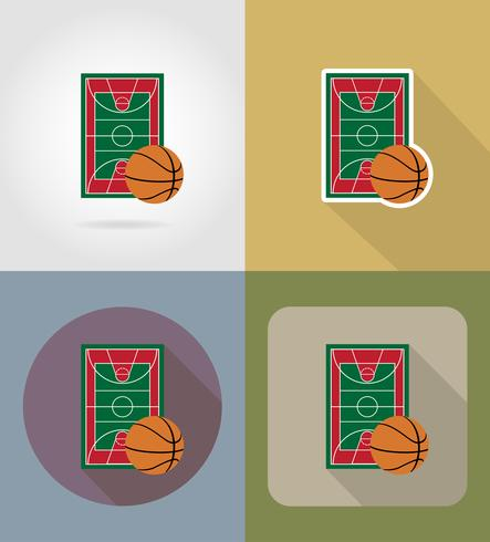 flache Ikonen-Vektorillustration des Basketballplatzes vektor