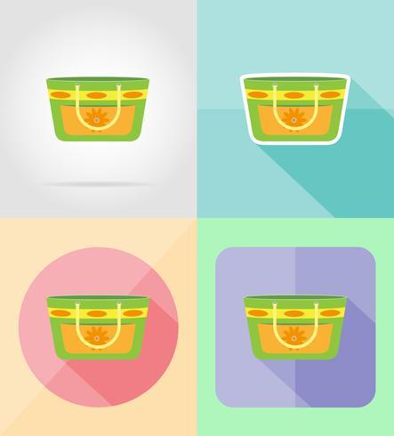 strand väska platt ikoner vektor illustration