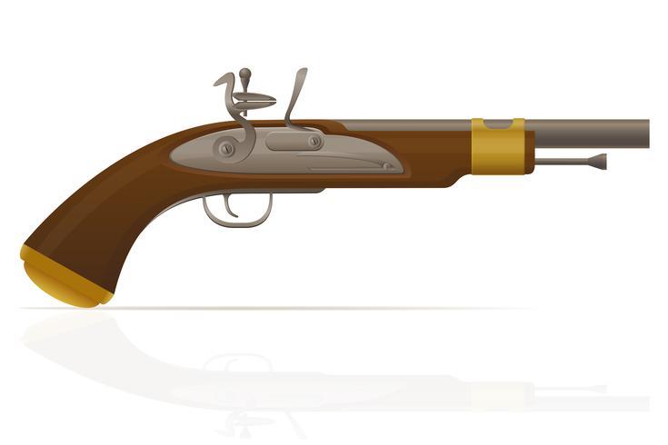 alte Retro- Steinschlosspistolen-Vektorillustration vektor