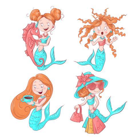 Vektor illustration av söt sjöjungfru. Vektor illustration.