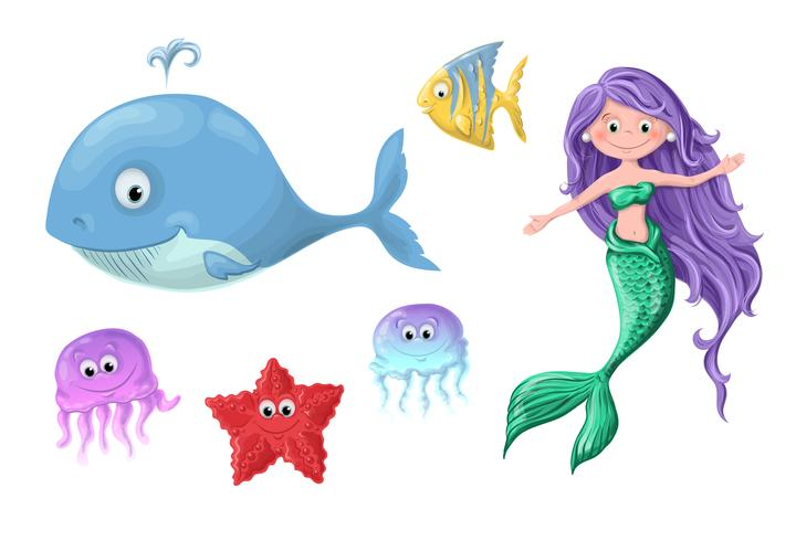 En uppsättning roliga tecknade söta nautiska invånare - en sjöjungfru, en val, en fisk, en sjöstjärna och maneter. vektor