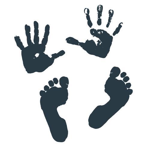 Avtryck av barn s palmer och fötter. vektor