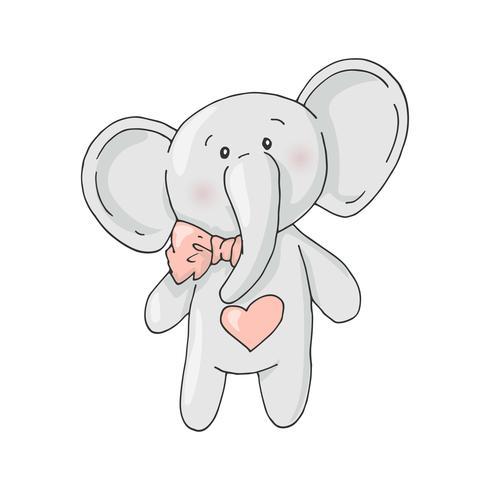 Söt tecknad härlig tjej elefant. vektor