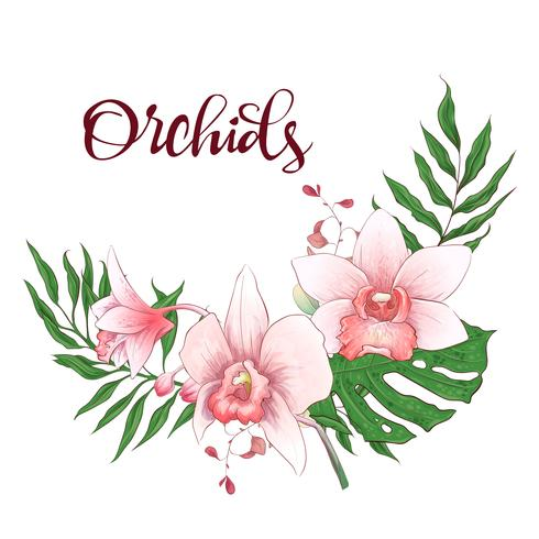 Blumenmusterrahmen. Orchidee, Eukalyptus, Grün. Hochzeitskarte. vektor