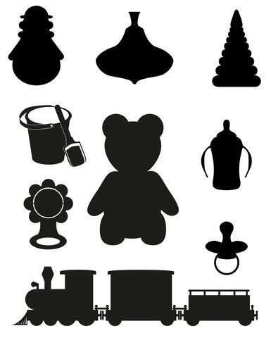 ikon av leksaker och tillbehör till spädbarn och barn svart silhuett vektor