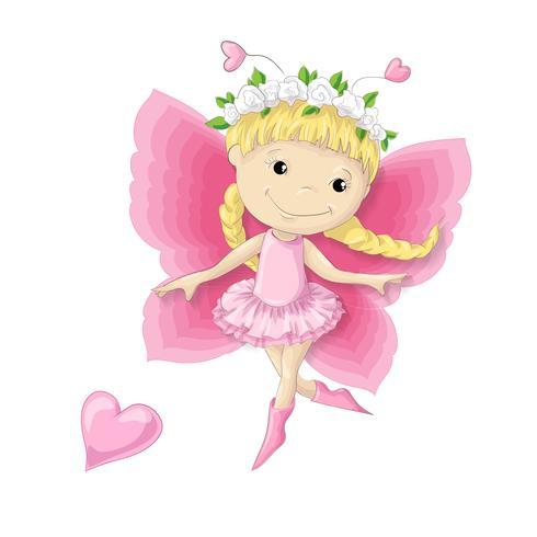 Hübsche Zeichentrickfilm-Figur ein Schmetterlingsmädchen in einem Kranz von Blumen und von rosa Kleid. vektor