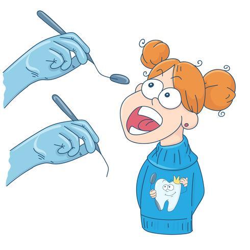 Kunst zum Thema Kinderzahnmedizin. Das Mädchen an der Rezeption beim Zahnarzt. vektor