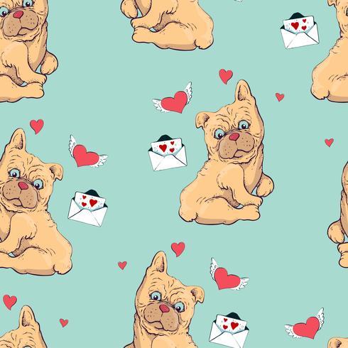 nahtlose Muster mit Hunden, kindliche Muster mit Hunden, Vektor Textilgewebe Druck, Geschenkpapier.