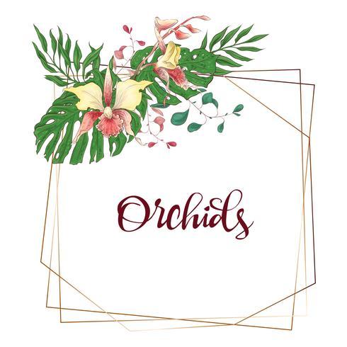 Blumenmuster geometrischen Rahmen. Orchidee, Eukalyptus, Grün. Hochzeitskarte. vektor