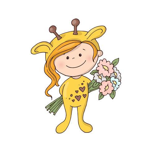 Härlig tjej i en giraffdräkt med en bukett blommor. vektor