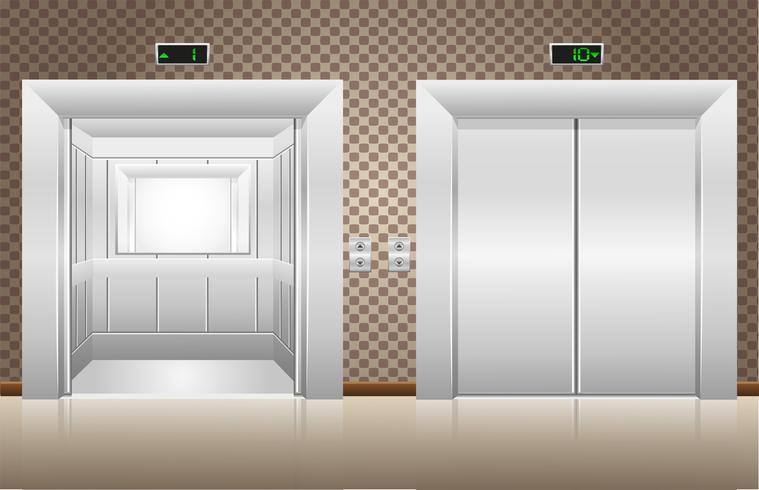 två hissdörrar är öppna och stängda vektor
