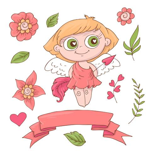 Set med söta tecknad änglar för Alla hjärtans dag med tillbehör vektor