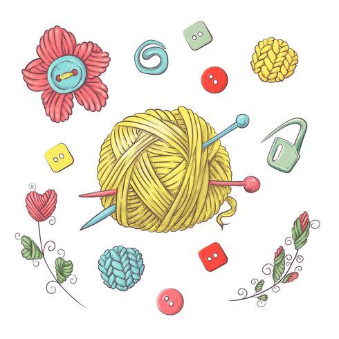 Set för handgjord boll av garn och tillbehör för hakning och stickning. vektor