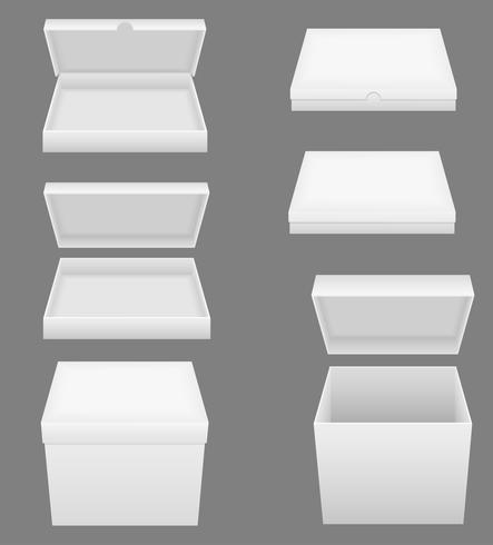 Stellen Sie weiße Verpackungskasten-Vektorillustration der Ikonen ein vektor