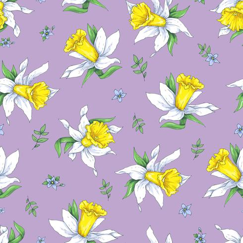 Nahtloses Muster der Eleganz mit Blumennarzisse auf Frühlingshintergrund vektor