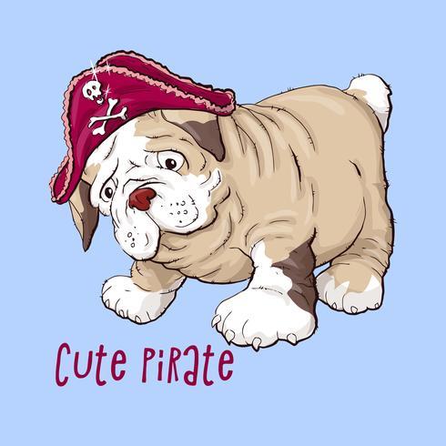 Lycklig tecknad valphund, Porträtt av söt liten hund med krage. vektor