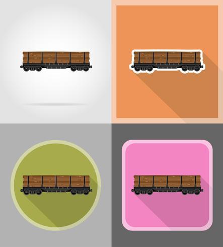 Ikonen-Vektorillustration der Eisenbahnwagenserie flache vektor