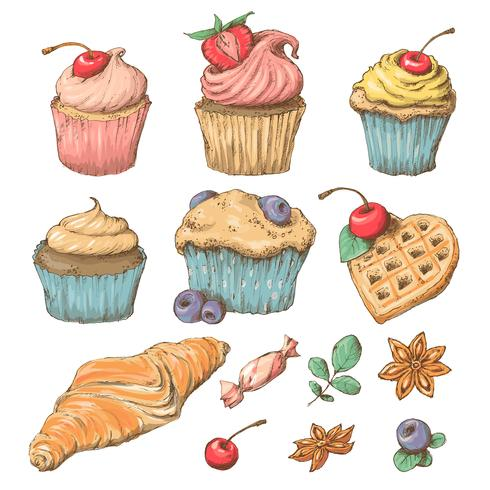 Süßer Capcake mit Sahne. Set von Vektorkarten vektor