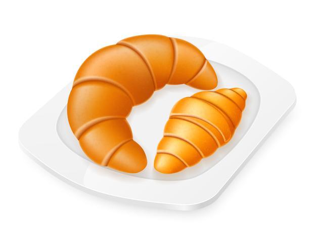 croissanter som ligger på en tallrik vektor illustration