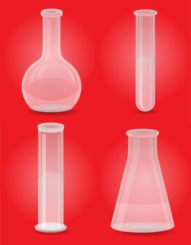 Ikonen-Vektorillustration des Glasreagenzglases gesetzte vektor