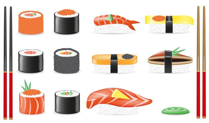 gesetzte Ikonen-Vektorillustration der Sushi vektor