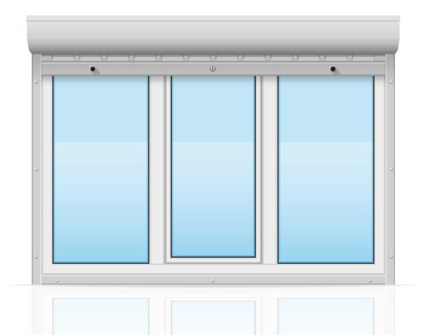 Kunststofffenster hinter Metall perforierte Rollläden Vektor-Illustration vektor