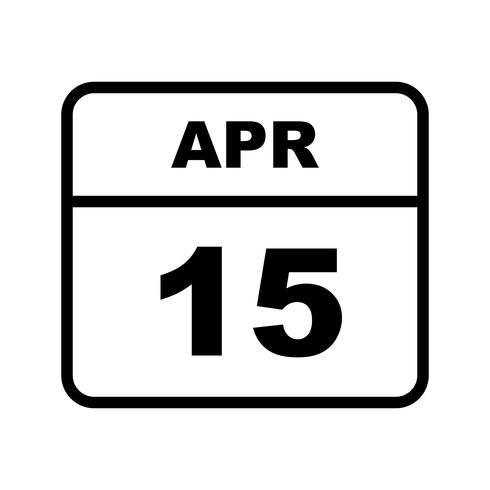 15 april Datum på en enkel dagskalender vektor