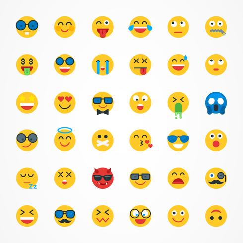 platt emoji emoticon vektor ikonuppsättning