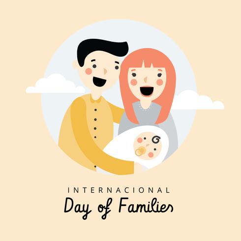 Nette Familie mit Mamma, Vati und Neugeborenem zum internationalen Tag der Familien vektor
