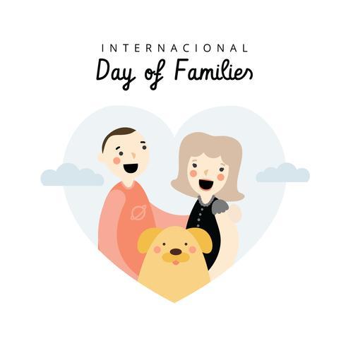 Weiße Paare mit gelbem Hund und Herzen zum internationalen Tag der Familien vektor