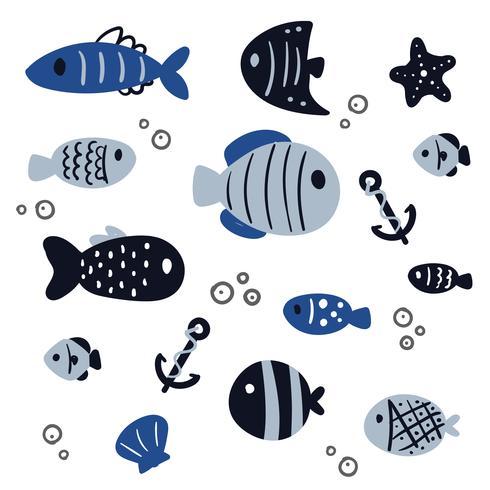 fisk vektor samling design
