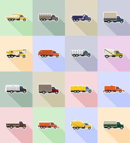 lastbil platt ikoner vektor illustration