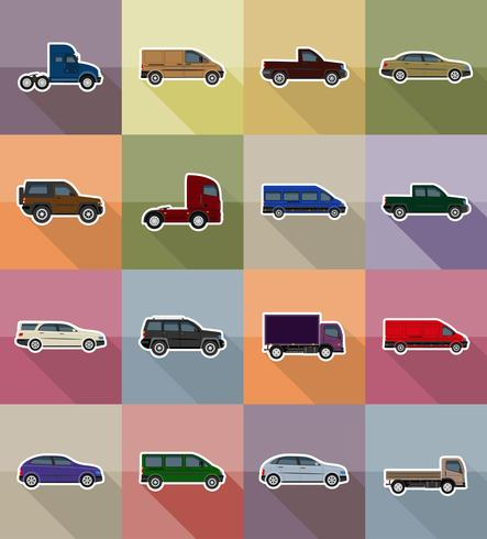 transport platt ikoner vektor illustration