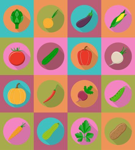 gröna plattor ikoner med skugg vektor illustration