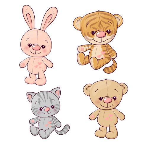 Set Tigerjunges Kätzchen Teddybär Hase. Handzeichnung. Vektor-illustration vektor